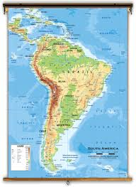 Mountain Ranges World Map by South America Physical Classroom Map From Academia Maps