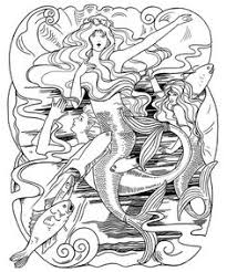 mermaids combing hair coloring coloring pages
