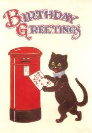 black cat luck to you vintage birthday card the vintage