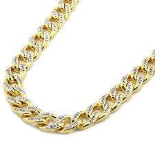 necklace diamond gold images Mens gold tone iced out simulated diamond miami 10mm cuban 30 jpg