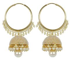 jhumka earrings online meenaz traditional ethnic gold plated pearl jhumka earrings for