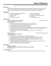 Resume Sample For Doctors by Unforgettable Medical Equipment Technician Resume Examples To