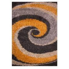 ochre swirl fluffy shaggy rug helsinki kukoon