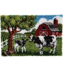 wonderart latch hook kit 27 x40 contented cows joann
