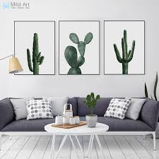 modern home decors nordic watercolor green cactus plant poster print hipster floral