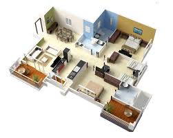 Best 3 Bedroom Floor Plan by 20 Designs Ideas For 3d Apartment Or One Storey Three Bedroom