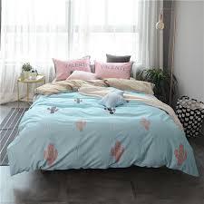 4pcs 100 cotton duvet cover sets cartoon cactus printed quilt cover pillowcase bed sheet bed