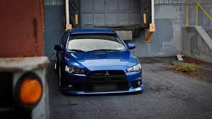 car wallpapers blue mitsubishi lancer evolution x jdm style