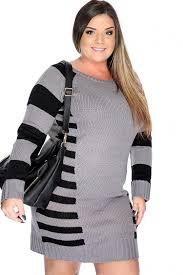 charcoal black sleeve stripe plus size sweater dress