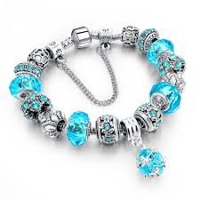 bracelet crystal silver images Crystal silver blue diy beads charm bracelet ready made suits jpg