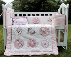 Dragonfly Crib Bedding Set 4 Pcs Cotton Baby Bedding Set 3d Embroidery Pink Butterfly