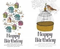 text birthday card birds happy birthday card vector free