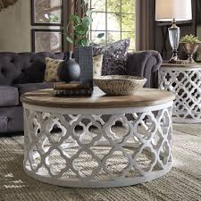 moroccan round coffee table vince reclaimed wood moroccan trellis drum coffee table by inspire q