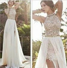 China Grace High Neck Golden Beading Split Front Corset Lace Women