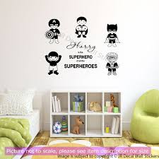 wall decals stickers home decor home furniture diy 5 x superheroes removable vinyl wall decals personalized boy name wall stickers