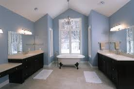 brown and blue bathroom ideas white bathtub with brown wooden vanity and white top with