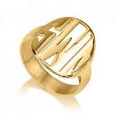 Gold Monogram Ring Monogrammed Rings Loveinchic
