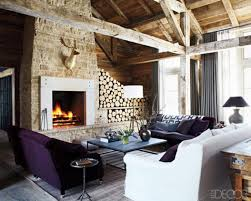 amazing country style living room with white sofa and purple