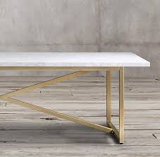 restoration hardware marble table rh s torano marble collection white marble 38 burnished brass