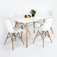 white mdf table top white dining table 4 chairs set x frame rectangle wood legs mdf