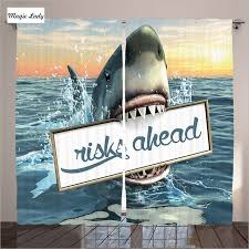 Shark Bedroom Curtains Curtains Custom Living Room Bedroom Sharks Sea Quotes