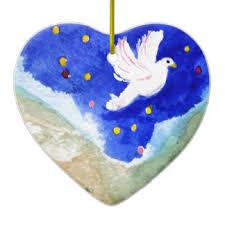 Baptism Christmas Ornament Heart Shaped Jesus Ceramic Decorations Heart Shaped Jesus Tree