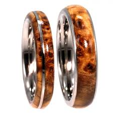 wood engagement rings black ash burl wood wedding rings on titanium bands