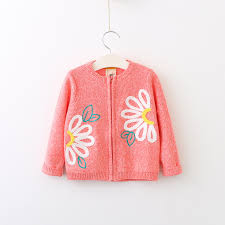 wholesale sweaters 2017 autumn baby big flowers zipper knitted sweater cardigan