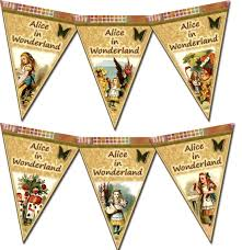 alice in wonderland template alice in wonderland pennants flags banner instant download