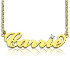 Nameplate Necklaces Nameplate Necklace With Birthstone 18k Gold Plated