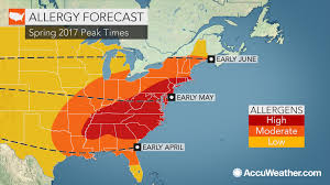 New England Weather Map by Eastern Us Allergy Sufferers Face Early Prolonged Spring Pollen