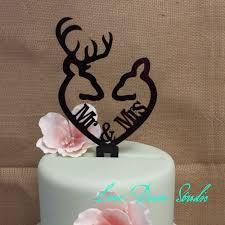 browning cake topper buck and doe heart collection mr mrs buck and deer heart acrylic