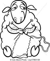 vectors knitting sheep coloring black white cartoon