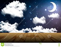 Wooden Table Background Vector A Wooden Table On A Background Of The Cloudy Night Sky Stock