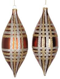 glitter plaid drop ornaments copper with chagne gold silver