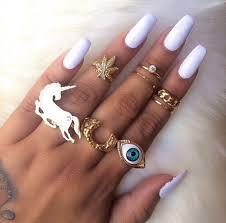jewels long nails finger rings ring gold weed eye nail