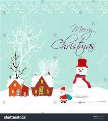 merry christmas card santa claus snowman stock vector 206767900