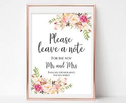 wedding wishes note wedding advice sign leave a note sign floral wedding