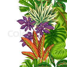 tropical wrapping paper seamless vertical border with tropical plants and leaves