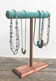 jewelry necklace holder stand images Jewelry necklace stand display holder wooden t bar blue green jpg