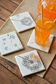 homemade home decor crafts easy diy tile coasters gift girls night in craft tile coasters