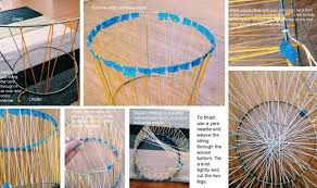 Basket Home Decor Diy Woven Basket From A Tomato Cage Hometalk