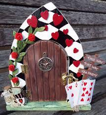 alice in wonderland inspired wooden fairy door free standing