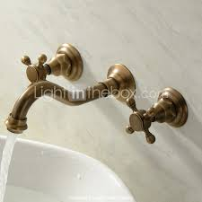 antique brass finished wall mounted mixer bathroom sink tap ta109w