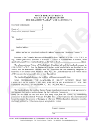 Landlord Termination Notice notice to remedy breach termination for breach of warranty of