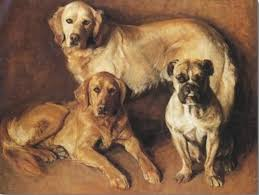 unknown painting of what appear to be two golden retrievers and a