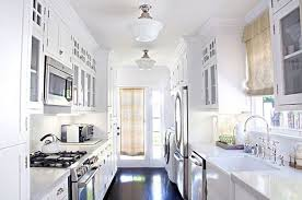 narrow galley kitchen ideas modern galley kitchen designs with light blue cabinets color