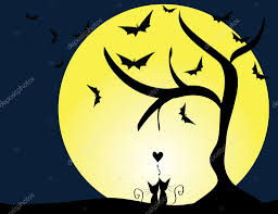 Cute Cats In Love Staring Ta The Moon With Bats Halloween Concept