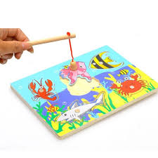 2017 wholesale 3d magnetic educational fishing puzzles wooden toys