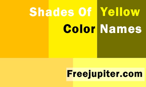 colors yellow 30 shades of yellow color names